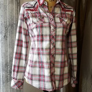 Ariat Cute Plaid Top W/Metal Buttons